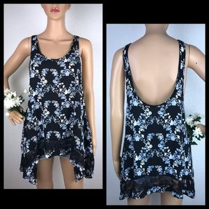 FP Intimately Floral Lace Trim Trapeze Tank Top